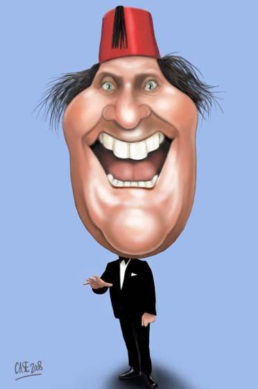 Tommy Cooper karikatuur: www.casekarikaturen.nl/Alle tekeningen/Digitaal/cooper.html
